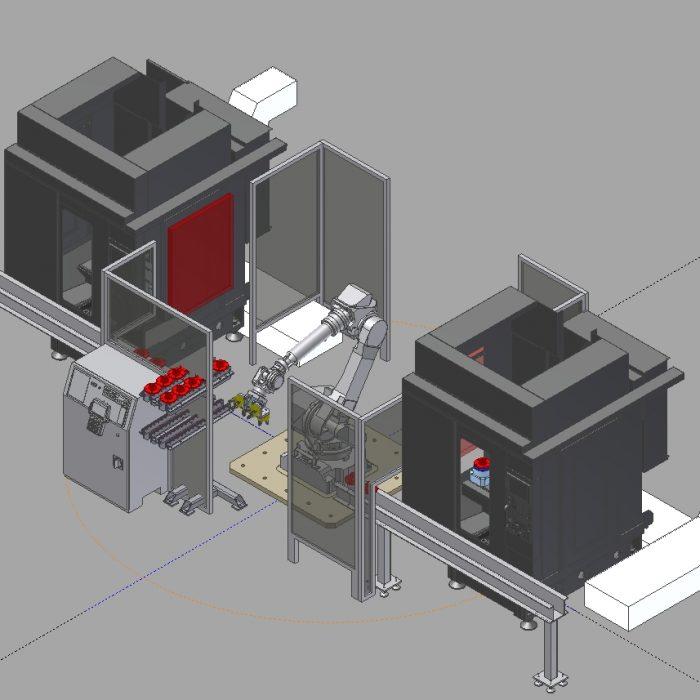 2 Robodrills with Robot Between