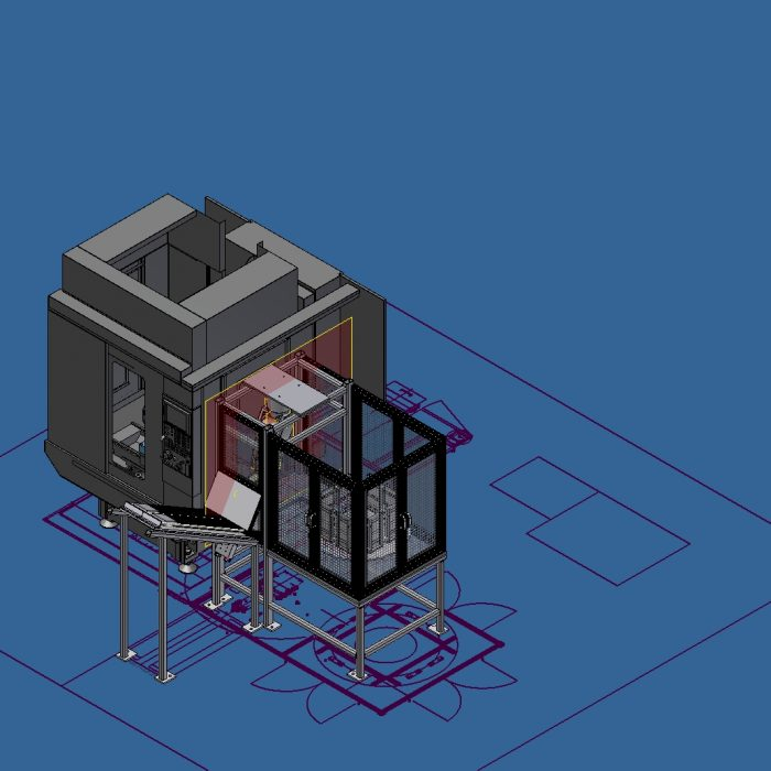 Design Concept Robodrill with Robot and Trunnion Fixture 2