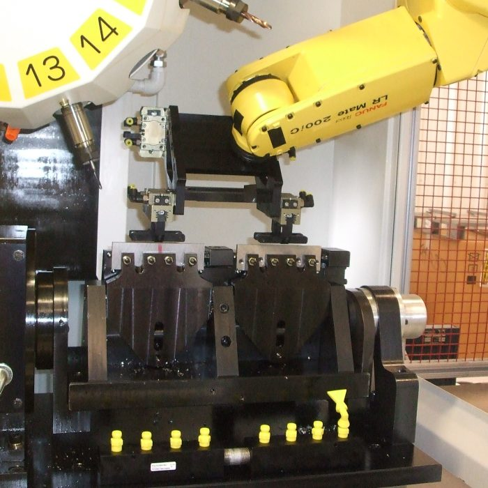 Robodrill with Robot and Special Trunnion Fixture